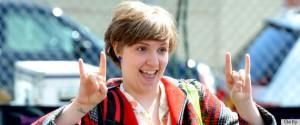 Lena Dunham flashing the Satanic hand signal