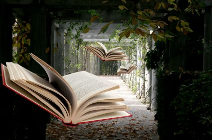 books-flying-through-nature